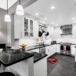 Modern Kitchen Ideas With Modern Style Hanging Pans Marble Tables Simple Cool Kitchen Cabibnet Colourful Rug