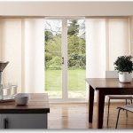 Modern Kitchen Patio Door Window Treatment Sliding Panel Hardwood Floowing Extravagant Dining Table
