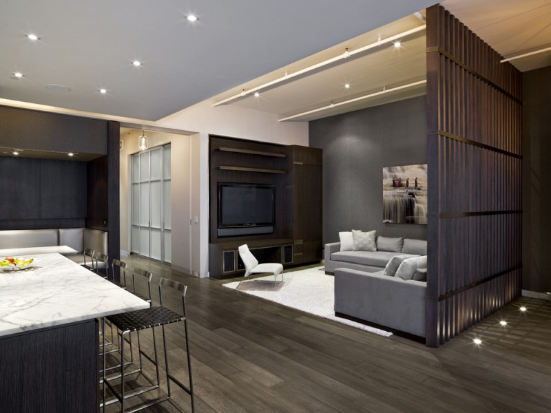 modern living room with big screen and great sofa pillows ceiling lamps chairs hardwood floor industrial living room tv