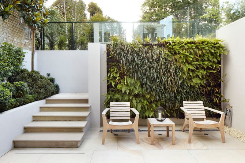 modern patio idea with wood furniture without finishing clean white paving floors white paving stairs mini outdoor garden idea