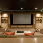 Modern Room With Big Screen And Great Sofa Lamps Pillows Contemporary Design Tables Shelves