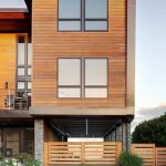 Modern Simple Wood House Fence Grass Windows Contemporary Exterior Railing Chairs Flowers