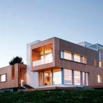 modern simple wood house trendy design contemporary exterior stairs windows grass impressive lighting