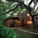 Modern Simple Wood House Windows Door Lighting Pathway Tree Soil Contemporary Exterior