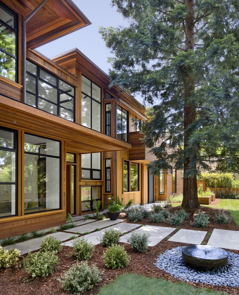 modern simple wooden house big windows garden pavers contemporary landscape tree ceiling lamp glass stones