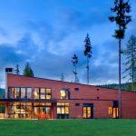 modern simple wooden house grass door windows lighting trees chairs lights lamps