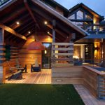 Modern Simple Wooden House Railing Interesting Windows Chairs Wood Wall Contemporary Exterior Impressive Lighting Lights Lamps