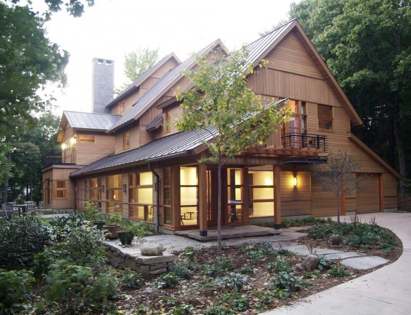 modern simple wooden house windows door pathway rustic exterior lighting lamps lights