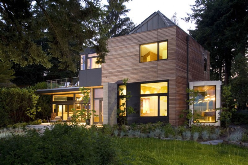 modern simple wooden house windows trees lighting lamps lights door contemporary exterior