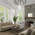 morning room designs carpet chairs sofa pillows shelf fireplace big windows lamp table books chandelier