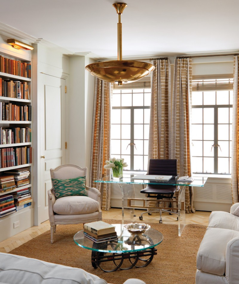 morning room designs carpet glass top tables window sofa pillows chairs bookshelves books curtains transitional design