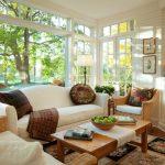 morning room designs carpet table big windows sofa pillows traditional design lamp chair wall decor