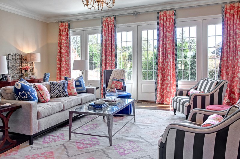 morning room designs carpet tables sofa pillows chairs lamps flowers curtains chandelier books