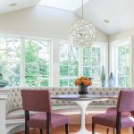 Morning Room Designs Chairs Table Tufted Bench Big Windows Transitional Style Hanging Lamp Ceiling Lights Flowers