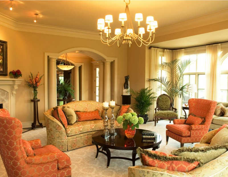 morning room designs window curtain chairs sofa pillows ceiling lamp chandelier shelf flowers table victorian style
