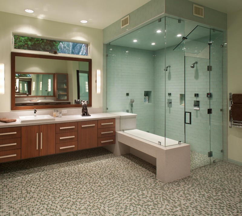 mosaic bathroom floor tiles white wall tiles glass door shower room bathroom cabinet rectangular mirror round ceiling lamp
