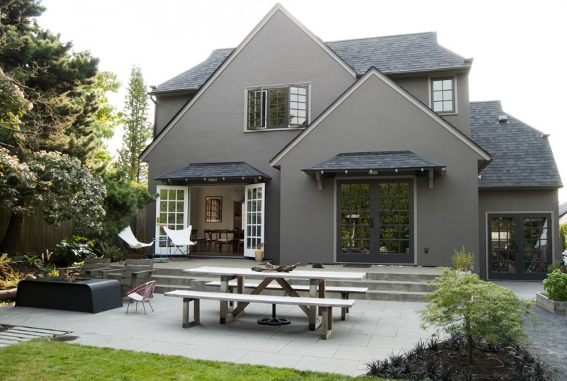 most beautiful exterior of house color combinations black door white door roof walls benches table traditional style chairs