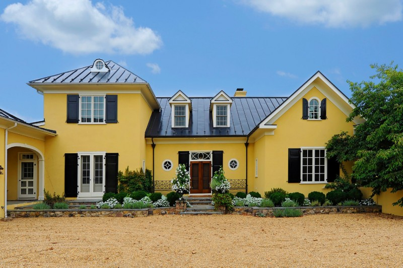 most beautiful exterior of house color combinations doors windows traditional yellow black white plants roof