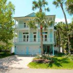 Most Beautiful Exterior Of House Color Combinations Grass Aqua Blue White Tropical Exterior Windows Door Railings Flowers