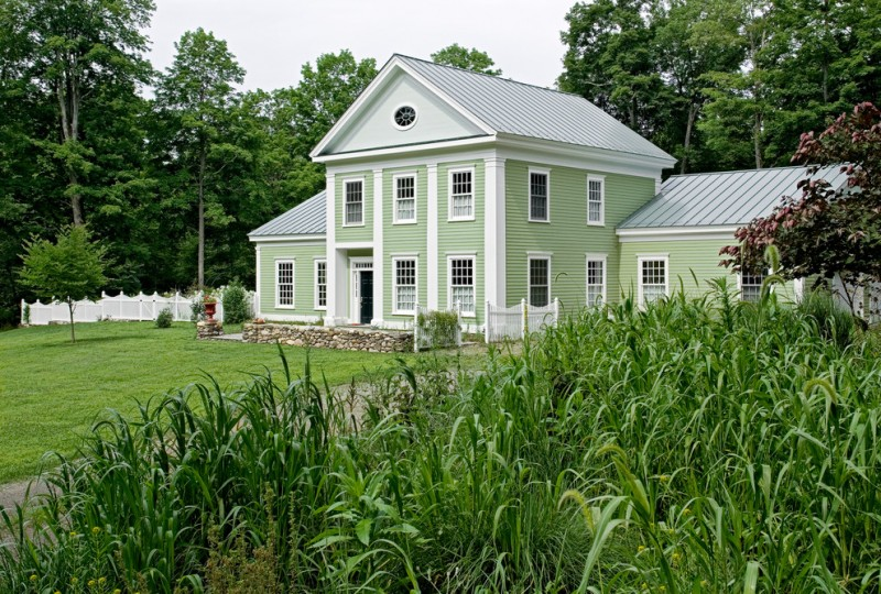 most beautiful exterior of house color combinations grass roof windows light green white traditional style
