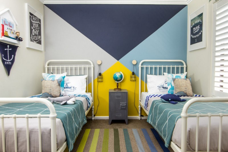 multicolored wall painting idea for boys room white traditional bed frames with headboard grey bedside table multicolor & stripes area rug unique night lamps