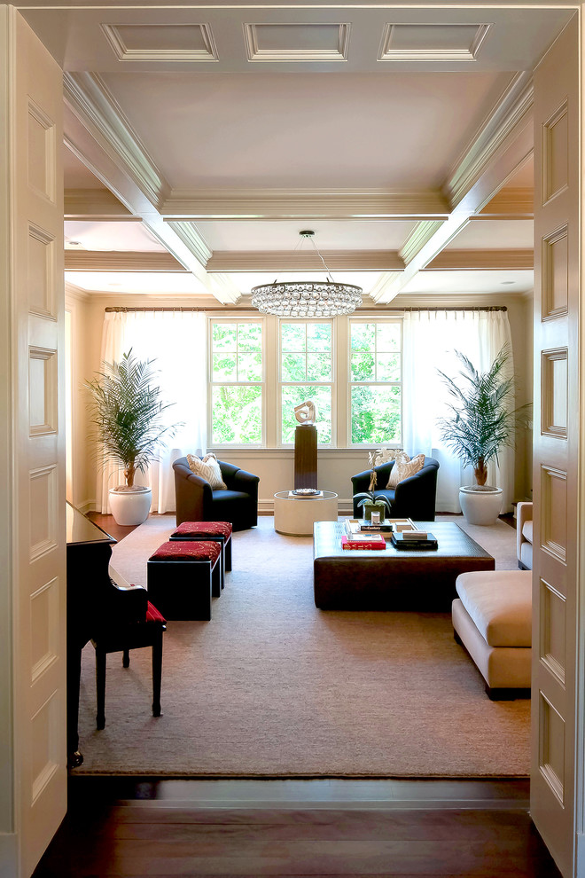 narrow living room arctic pear chandelier piano room thick cream rug comfortable couch white ceiling