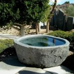 natural stone japanese hot bath tub in outdoor