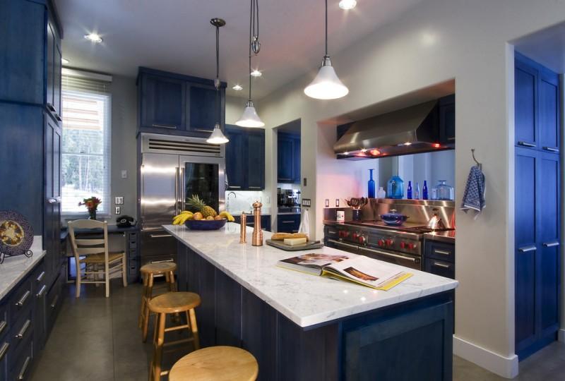 navy blue cabinet panels navy blue door panel stainless steel appliances wooden pepper shaker wooden chair