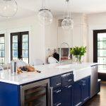 Navy Blue Wooden Panels Glass Panels Glass Ball Lamp White Countertop White Wall