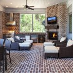 Nice Transitional Four Season Porch Brick Floor And Wall Porch Grill White Ceiling Adjustable Couch Dining Area