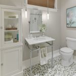 Nicely Designed Basement Floors Bathroom Mosaic Floor Tile Towel Rack Hanging Lights Painting Toilet Glass