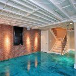 Nicely Designed Basement Floors Concrete Floor Brick Wall Stairs Pillars Window Door Lighting