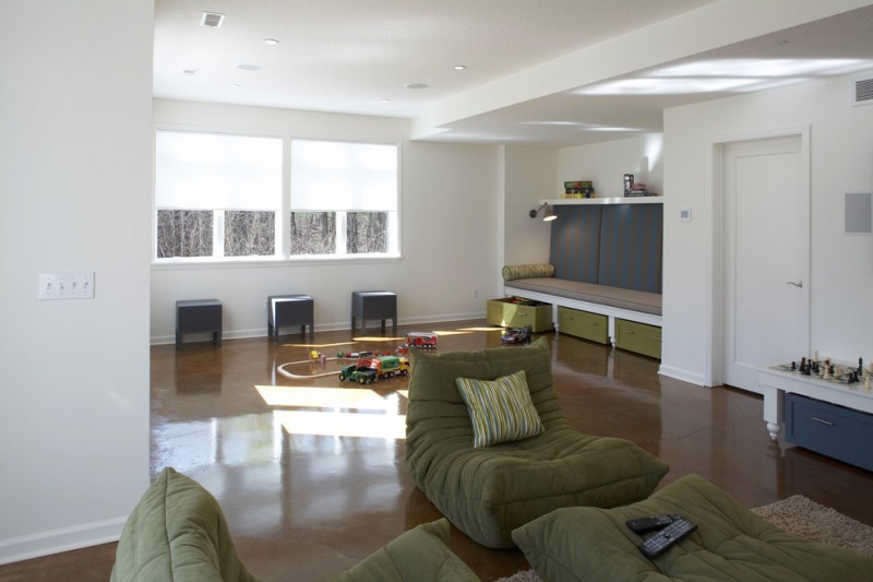 nicely designed basement floors concrete floor toys bench shelf carpet window drawers pillow seating
