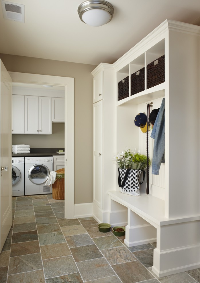 nicely designed basement floors slate floor cabinet traditional laundry room lighting washing machine basket