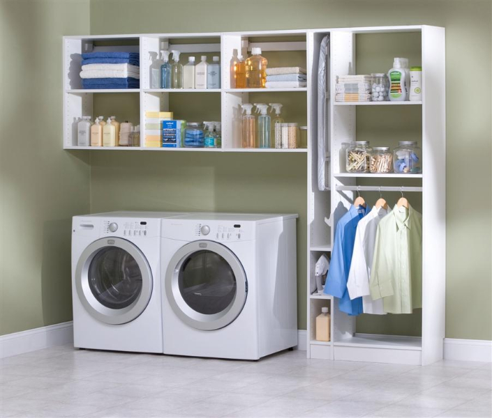 open shelves cabinets with hanger for unfolded clothes