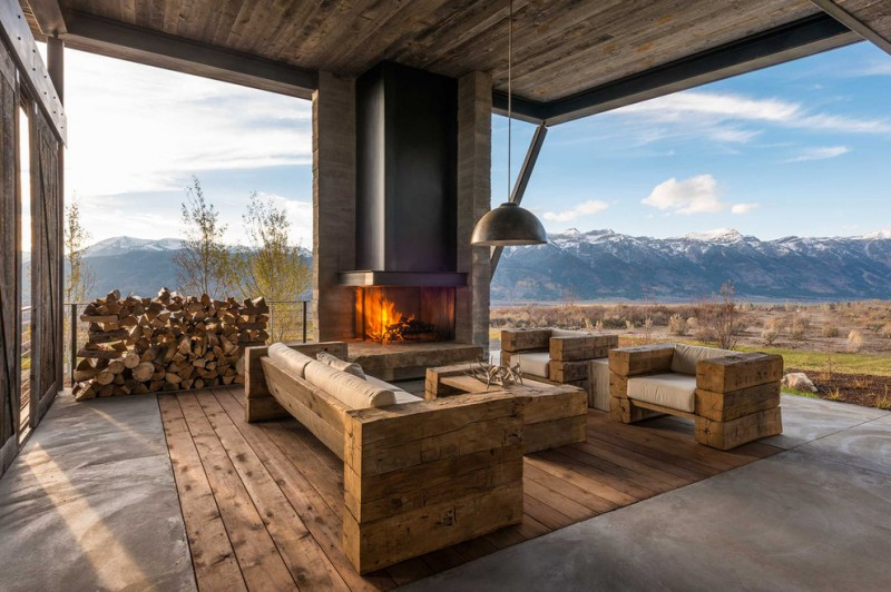 outdoor furniture in raw rustic style cool shabby wood floors concrete floors classic hang lamp for outdoor outdoor fireplace unit