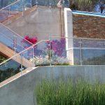 outdoor metal railing with flower design ideas glass flowers modern landscape stone wall grass