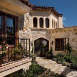 Outdoor Metal Railing With Flower Design Ideas Mediterranean Exterior Stone Wall Doors Windows Flowers