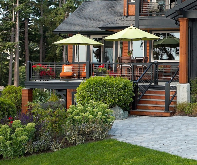 outdoor metal railing with flower design ideas stairs tall chairs table big windows glass door