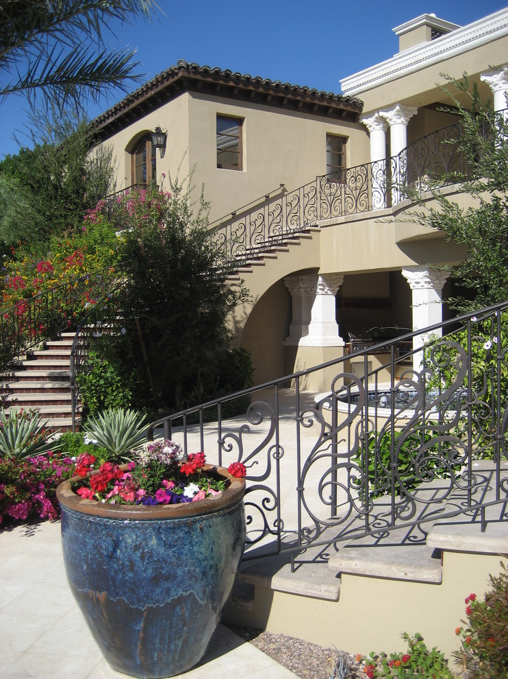 outdoor metal railing with flower design ideas urn flowers stairs mediterranean landscape big house