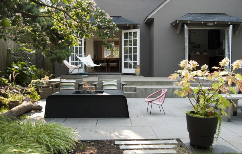 patio with fireplace wooden lounge, pink shor chair with back, white lounge chair