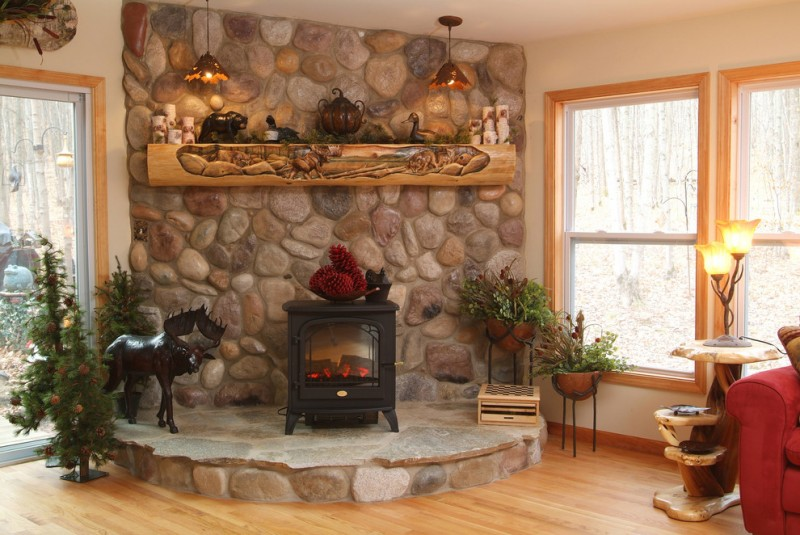 pellet stoves rustic fireplace fall mantel decoration log mantels distressed wood bean electric stove