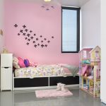 Pink Painted Walls Idea With Black Flower Stickers Black White Bed Frame Grey Ceramic Floors Small Mat In Pink