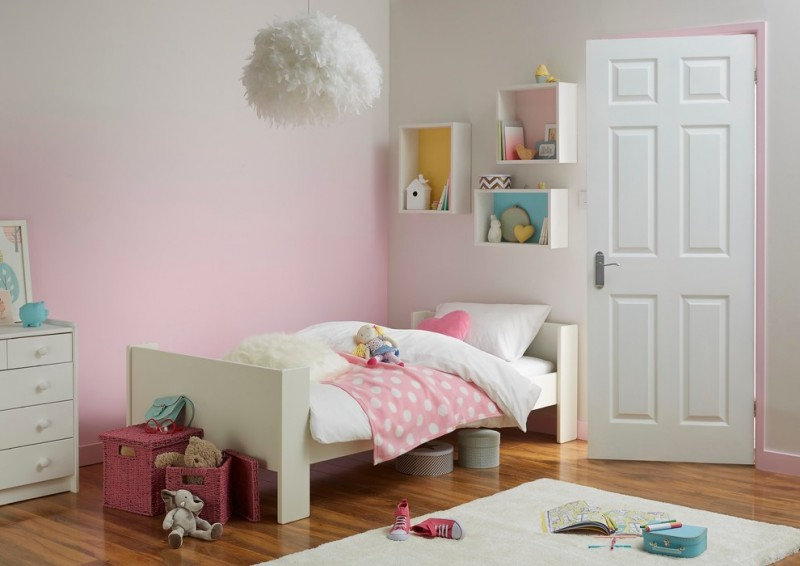 pink to white walls idea simple white bed with headboard white area rug independent cubes mounted on walls pendant lamp with white fluffy accent wood floors