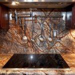 Rainforest Brown Granite Countertop Brown Granite Backsplash Stainless Steel Appliances Brown Wood Cabinet