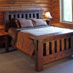 Reclaimed Wood Bed Design In Rustic Style With Headboard Log Cabin Walls Reclaimed Wood Side Tables With Table Lamps
