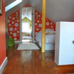 Red Wall Painting Idea With Big White Bubbles White Bed Comforter Medium Toned Wood Floors