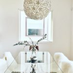 Romantic Dining Room Candinavian Furniture Austin Baby Fur Chairs Glass Table Flowery Lamp Single White Millenium Window