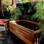 rustic japanese style outdoor soaking tub