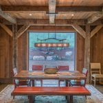 rustic mud wood interior carpet dining table chairs dining room ceiling lamps hanging lights